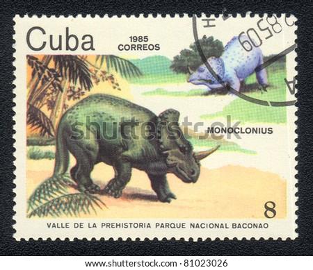 "CUBA - CIRCA 1985 : A post stamp printed in Cuba and shows reptile Horned dinosaur -  monoclonius with the inscription ""Prehistoric Valley National Park Baconao"", circa 1985"