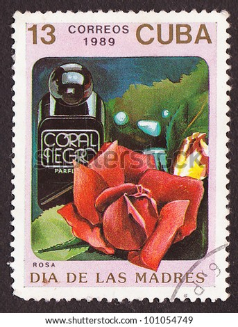 CUBA - CIRCA 1989: A post stamp printed in Cuba divided to Mother's Day and shows red rose , circa 1989