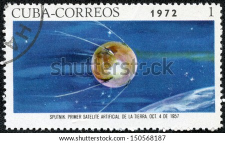 CUBA - CIRCA 1972 : A post stamp printed in Cuba shows a satellite devoted space exploration , circa 1972