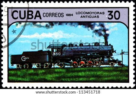 CUBA - CIRCA 1984:A Postage Stamp Shows Antique Locomotive, circa 1984