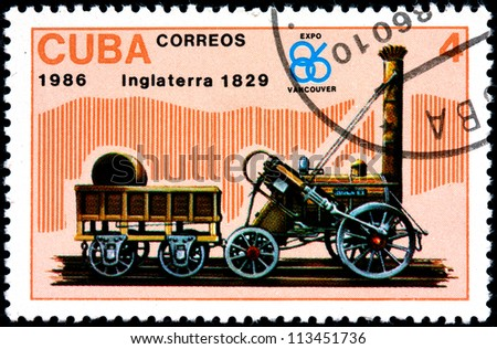 CUBA - CIRCA 1986:A Postage Stamp Shows Inglaterra Locomotive 1829, 1986