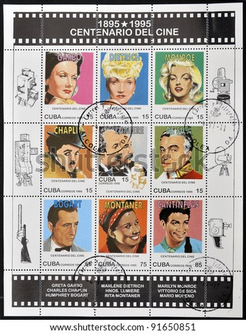 CUBA - CIRCA 1995: A set of stamps printed in Cuba dedicated to the centenary of cinema shows Greta Garbo, Marlene Dietrich, Marilyn Monroe, Chaplin, Lumiere, Sica, Bogart, Montaner and Cantinflas, circa 1995