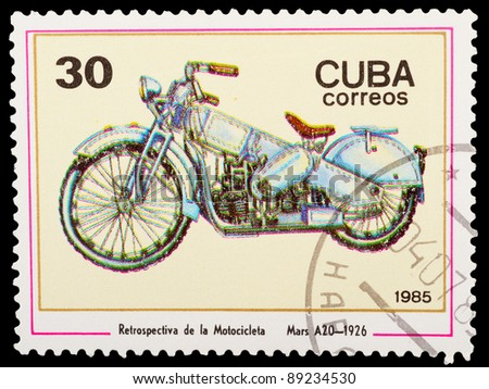 CUBA - CIRCA 1985: A stamp printed by CUBA shows old motorcycle, series, circa 1985