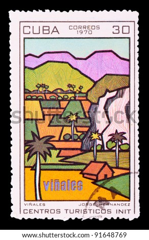 CUBA - CIRCA 1970: a stamp printed by CUBA shows Vinales, series tourist centers, circa 1970