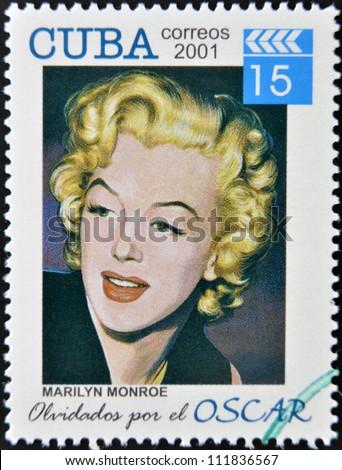 CUBA - CIRCA 2001: a  stamp printed in Cuba dedicated to the forgotten oscar award shows Marilyn Monroe, circa 2001.