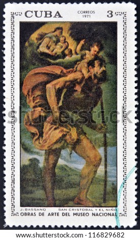 "CUBA - CIRCA 1971: A stamp printed in cuba dedicated to works of art from the National Museum, shows ""St Cristobal and Child"" by Bassano, circa 1971"