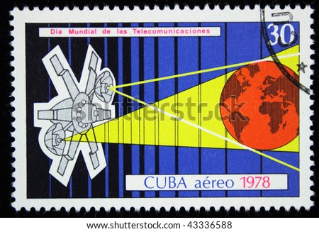 CUBA - CIRCA 1978: A stamp printed in Cuba devoted cosmos communications, circa 1978