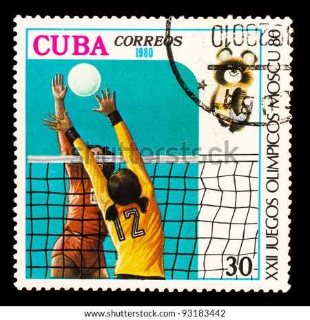 CUBA - CIRCA 1980: A stamp printed in CUBA, devoted to Olympic Games in Moscow (1980), woman playing volleyball, bear symbol, circa 1980