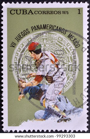 CUBA - CIRCA 1975: A stamp printed in Cuba, is dedicated to Pan American Games in Mexico, circa 1975