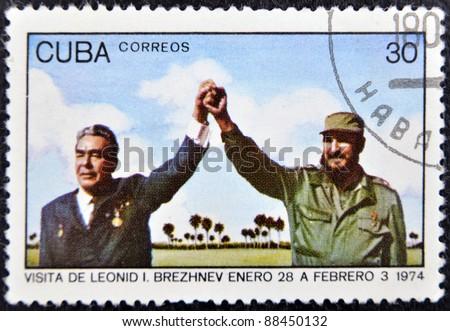 CUBA - CIRCA 1974 : A stamp printed in Cuba show leader of USSR Leonid Brezhnev and Fidel Castro, circa 1974
