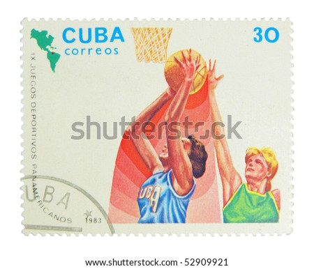 CUBA - CIRCA 1983: A stamp printed in Cuba showing basketball players circa 1983 - stock photo