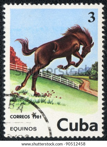 CUBA - CIRCA 1981: A stamp printed in CUBA  shows a brown horse from series: Wild Horses, circa 1981