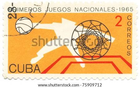 CUBA - CIRCA 1965: A stamp printed in Cuba shows Basketball player, circa 1965