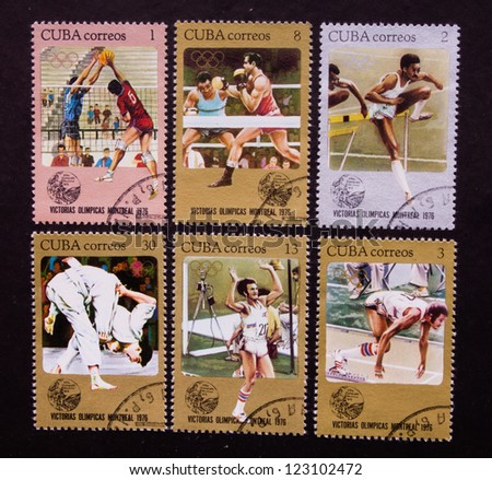 CUBA - CIRCA 1976: A stamp printed in Cuba shows different kind of sports and sportsmen in Cuba, circa 1976.