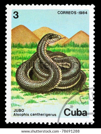 "CUBA - CIRCA 1984: A Stamp printed in CUBA shows image of a Snake with the description ""Alsophis cantherigerus"" from the series ""Fauna"", circa 1984"