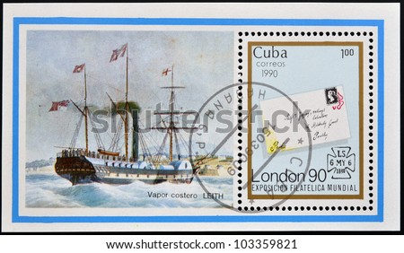 CUBA - CIRCA 1990: A stamp printed in cuba shows LEITH coastal steamer and cover letter with a penny stamp, circa 1990