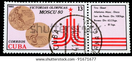 CUBA - CIRCA 1980: A stamp printed in Cuba shows medal of Moskow Olimpiade, series, circa 1980
