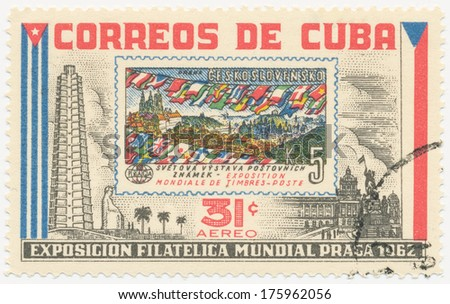 CUBA - CIRCA 1962: A stamp printed in Cuba shows stamp with flags of different countries of Czechoslovakia about philatelic exhibition in Prague, circa 1962