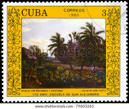 """CUBA - CIRCA 1988: A stamp printed in Cuba shows the """"Landscape with Malangas and Palm Trees"""", by Valentin Sanz Carta, from the series """"San Alejandro Art School, 170th Anniv."""", circa 1988"""