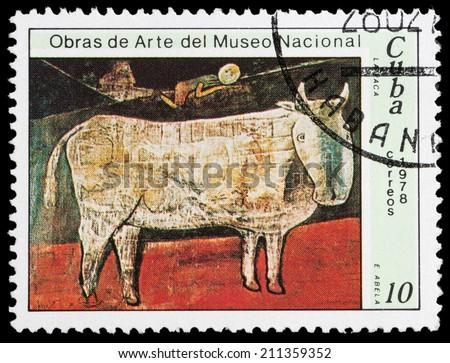 """CUBA - CIRCA 1978: A Stamp printed in CUBA shows the """"The Cow"""" (Eduardo Abela), circa 1978"""