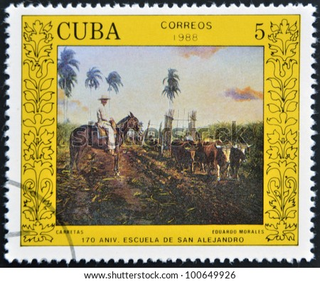 """CUBA - CIRCA 1988: A stamp printed in Cuba shows the """"wagons"""", by Eduardo Morales, from the series """"San Alejandro Art School, 170th Anniv."""", circa 1988"""