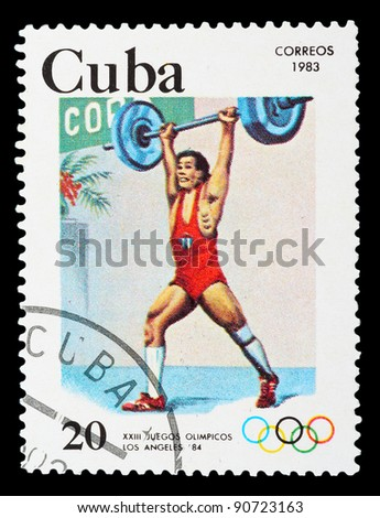 CUBA - CIRCA 1983: A stamp printed in CUBA shows weightlifting, series Olympic Games Los Angeles 1984, circa 1983