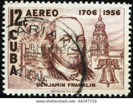 CUBA- CIRCA 1956: A stamp printed in the Cuba shows image of President Benjamin Franklin, circa 1956