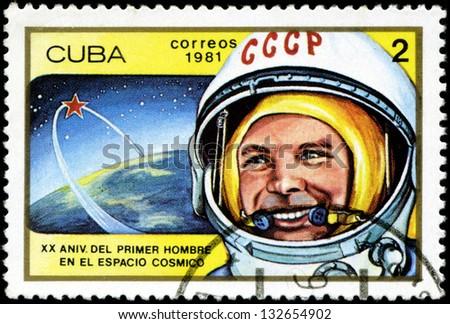 CUBA - CIRCA 1981: a stamp printed in the Cuba shows Yuri Gagarin, 1st Man in Space, 20th Anniversary of 1st Man in Space, circa 1981