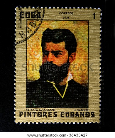 "CUBA - CIRCA 1976: A stanp printed in Cuba hows paint of artist G.Gollazo ""Studio in New York"", one stamp from series Cubanian paunters, circa 1976"