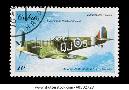 CUBA - CIRCA 1995: mail stamp printed in Cuba featuring an RAF Spitfire fighter aircraft, circa 1995