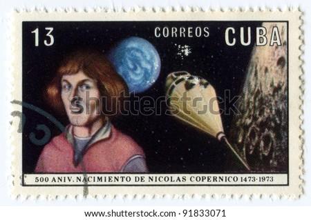 CUBA- CIRCA 1973:  Postage stamp printed in Cuba shows the portrait of Copernicus. 500 Anniversary Nacimento De Nikolas Copernico 1473-1973, circa 1973