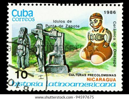 CUBA - CIRCA 1986: Postage stamp shows example Nicaragua culture, circa 1986