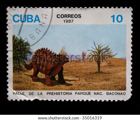 CUBA - CIRCA 1987: stamp printed by Cuba shows dinosaurs, one stamp from series, circa 1987