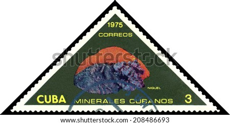 CUBA- CIRCA 1975: stamp printed by Cuba, shows mineral Nickel , circa 1975.