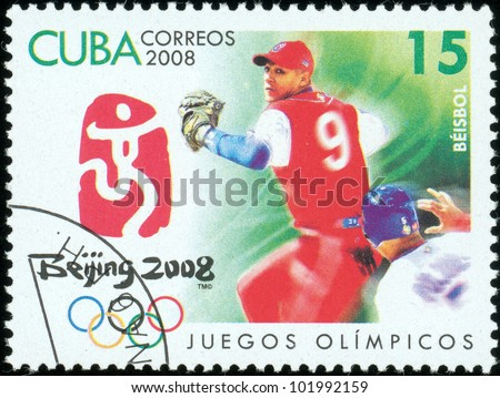 CUBA - CIRCA 2008: stamp printed by CUBA, shows Olympic games Beijing 2008?baseball?, circa 2008