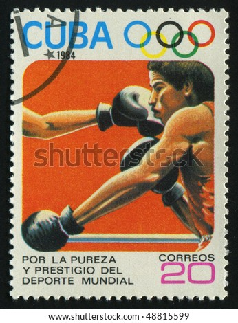 CUBA - CIRCA 1984: stamp printed by Cuba, shows 1984 Summer Olympics, Los Angeles. Boxing, circa 1984.