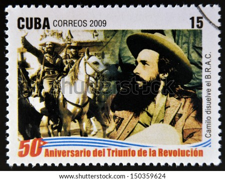 CUBA-CIRCA 2009:stamp printed in cuba dedicated to 50 anniversary of the triumph of the revolution, shows Camilo Cienfuegos dissolves the Bureau for the Repression of Communist Activities, circa 2009