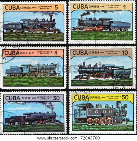 "CUBA - CIRCA 1984: Stamps printed in Cuba shows vintage locomotives, circa 1984. ""Locomotoras Antiguas"" series, 6 stamps - stock photo"