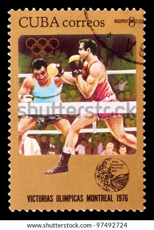CUBA-CIRCA 1976 : The postal stamp printed in CUBA shows boxing, series Olympic Games in Montreal 1976, circa 1976