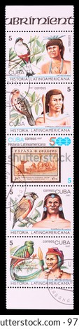 CUBA - CIRCA 1987: The postal stamp printed in CUBA shows History of Latin America, series animals and people, circa 1987