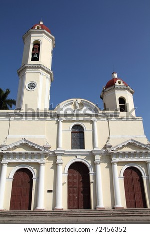 Cuba - colonial town architecture. Cathedral in Cienfuegos. UNESCO World Heritage Site.