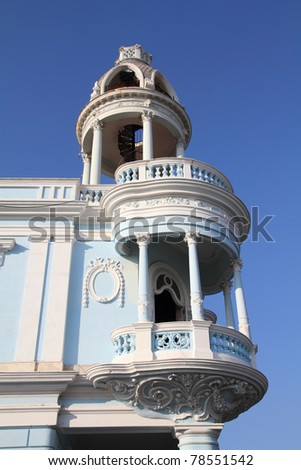 Cuba - colonial town architecture. Old town of Cienfuegos. UNESCO World Heritage Site.
