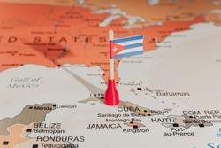 Cuba Flag on Cuba Map Cuban flag and map