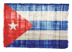 Cuba flag on original papyrus background