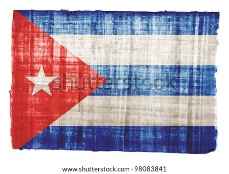 Cuba flag on original papyrus background