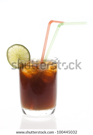 Cuba Libre Cocktail isolated on white background - stock photo