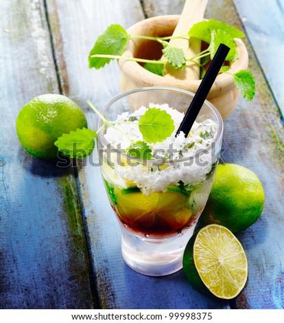 Cuba Libre Drink on vintage planks for south sea concepts. Visit my portfolio for whole drink concept.