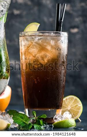 cuba libre or rum cola cocktail. Glass of cuba libre or long islan iced tea Photo stock ©