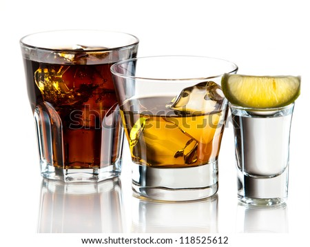 Cuba libre, whiskey on the rocks and tequila shot
