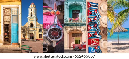 Shutterstock Cuba, panoramic photo collage, Cuban symbols, Cuba travel and tourism concept